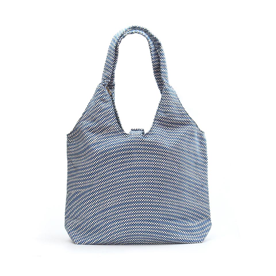 【新作】刺子織フェミニンバッグ フランス縞 / 薄青