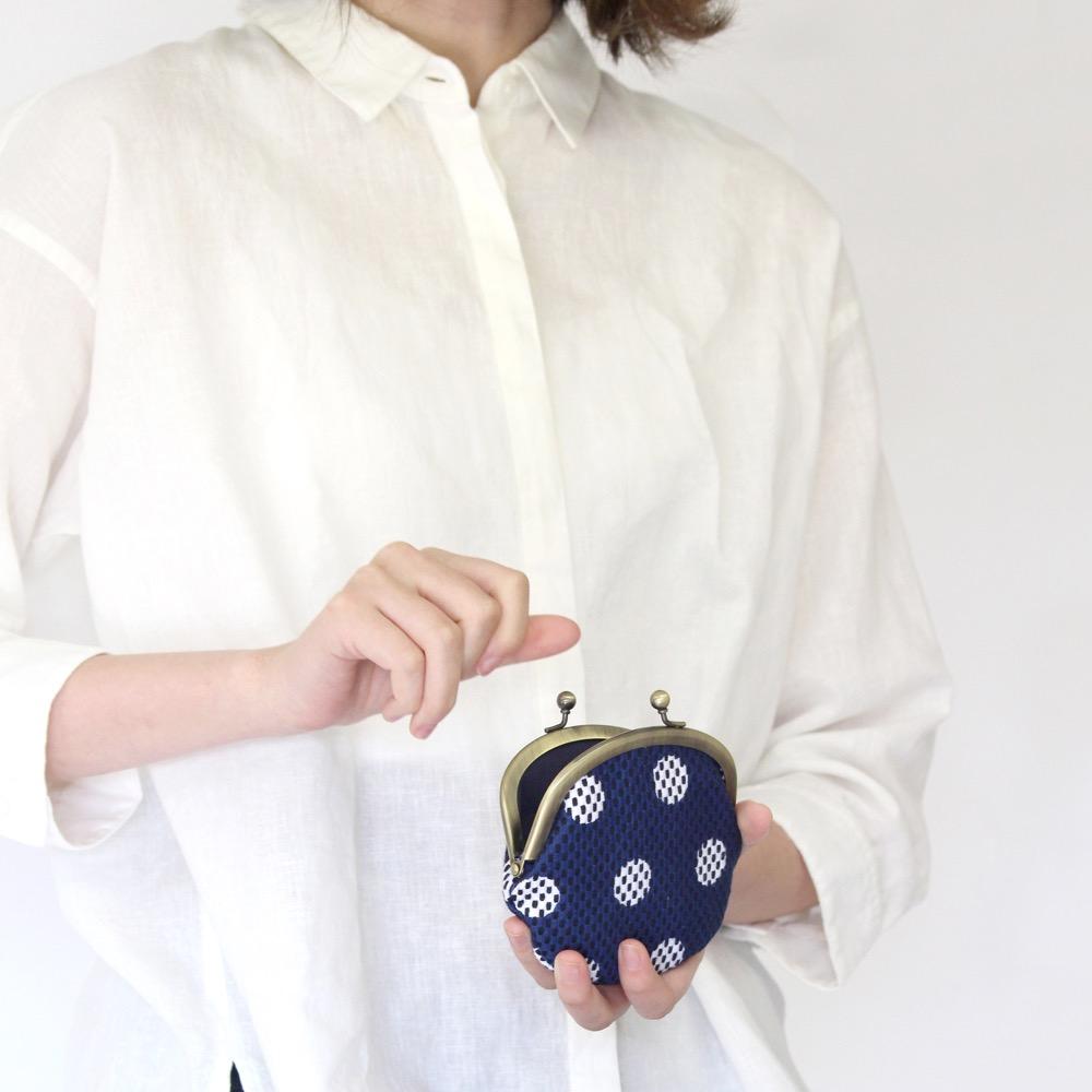 刺子織がま口小銭入れ(大) 水玉/ピンク