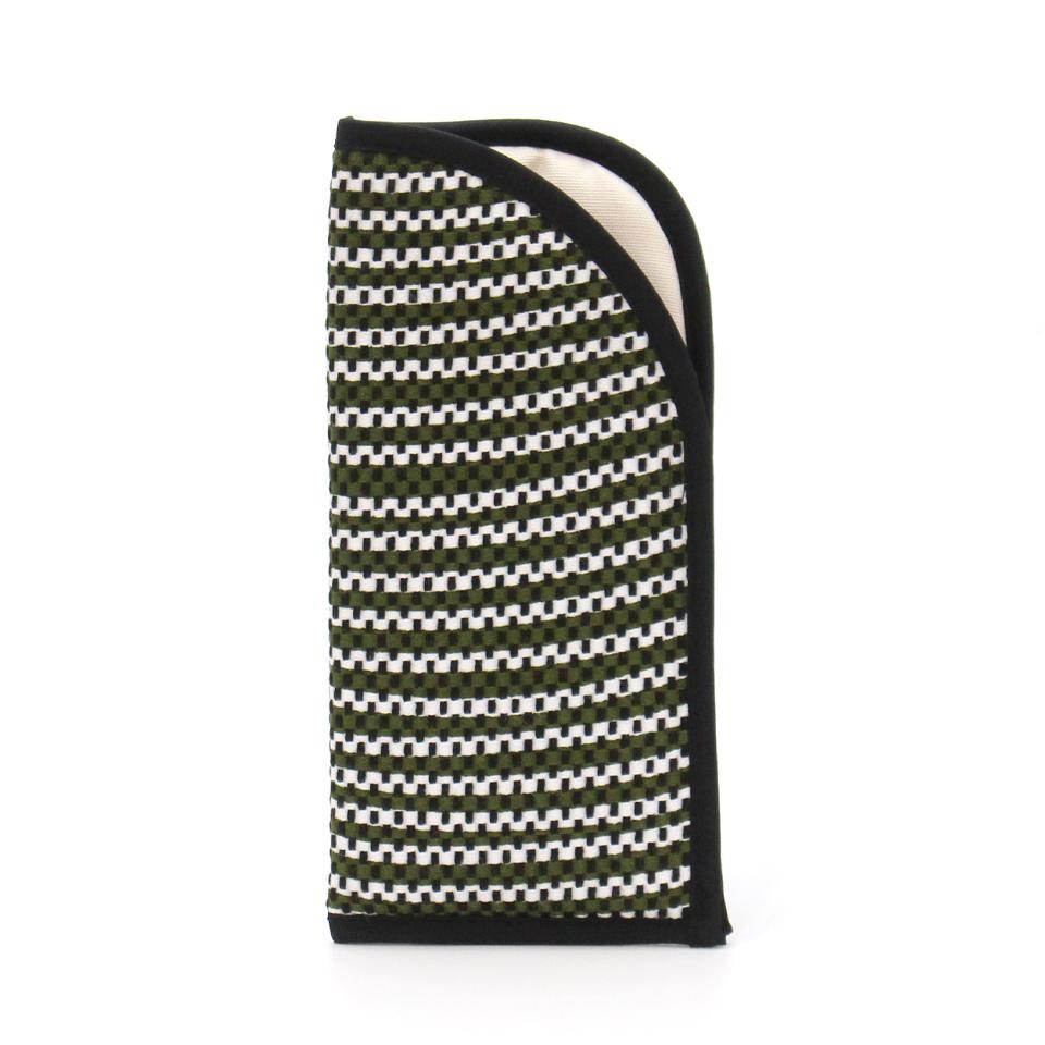 【新作】 刺子織メガネケース フランス縞 / 深緑
