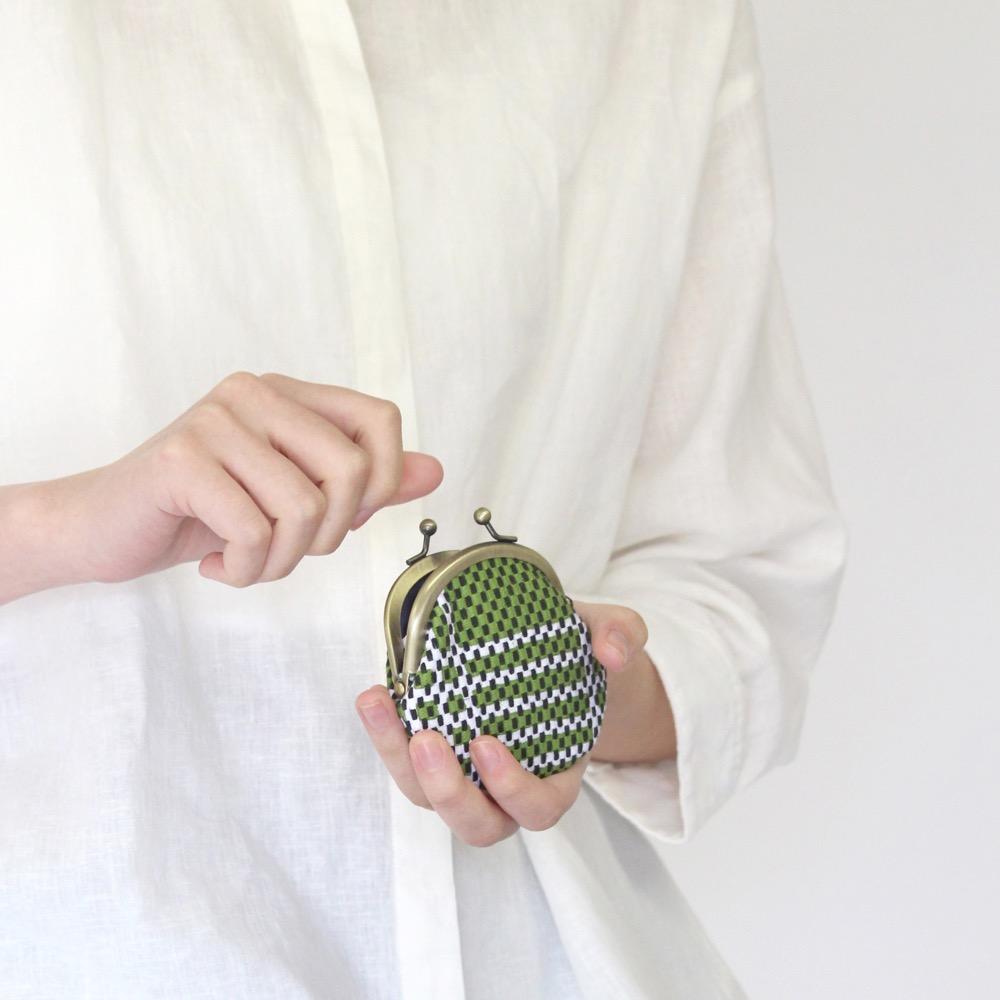 刺子織がま口小銭入れ(小) クローバー/水色
