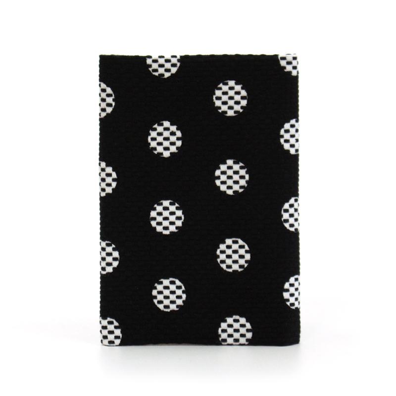 刺子織ブックカバー(文庫本) 水玉/黒