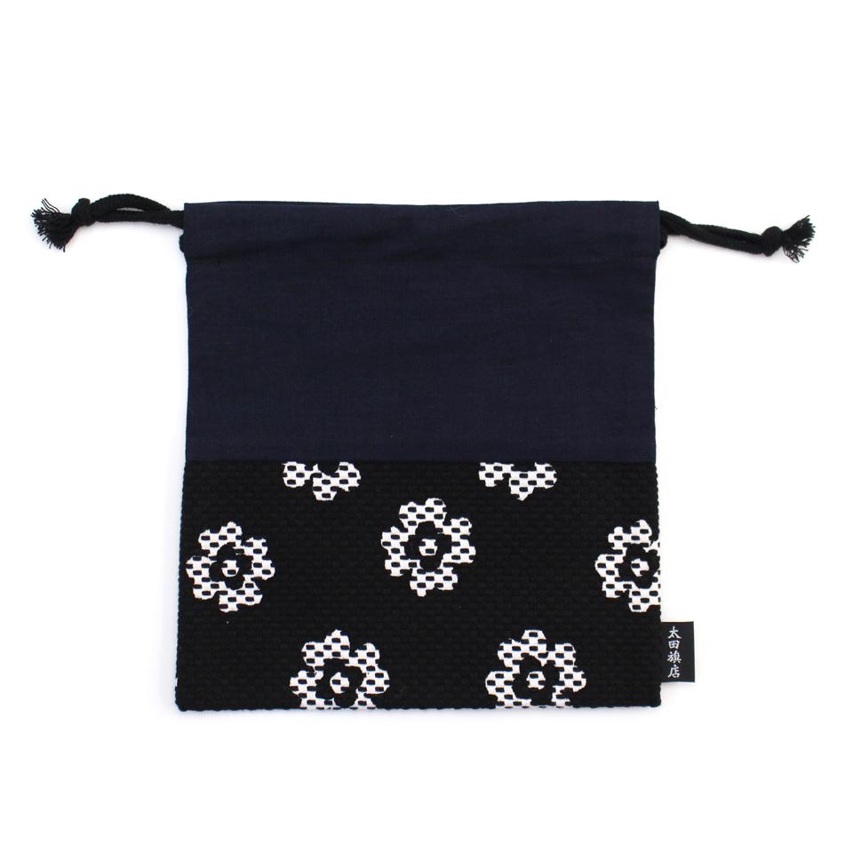巾着袋 / クローバー(黒)刺子織×綿
