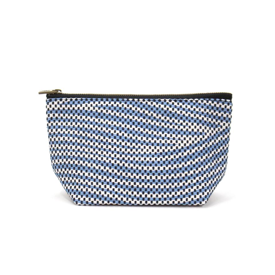 【新作】 刺子織シンプルポーチS(マチあり)  フランス縞 / 薄青