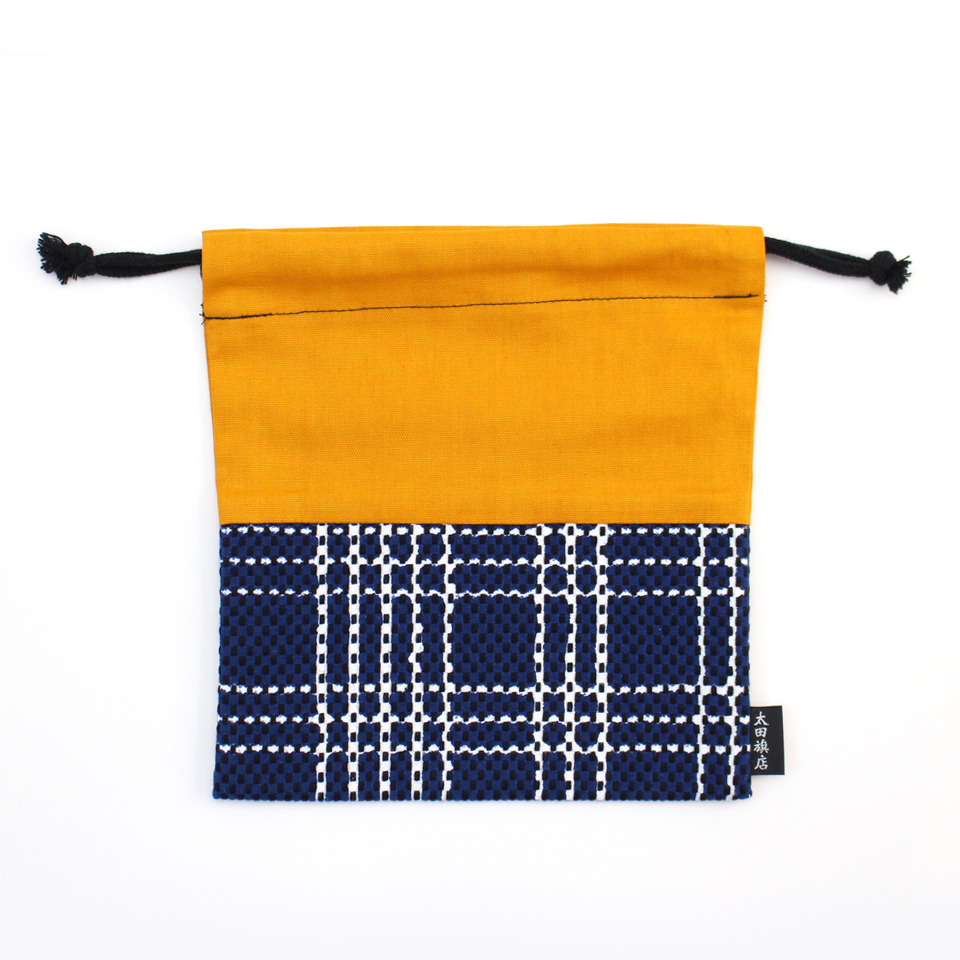 巾着袋 / なごみ(紺)刺子織×綿