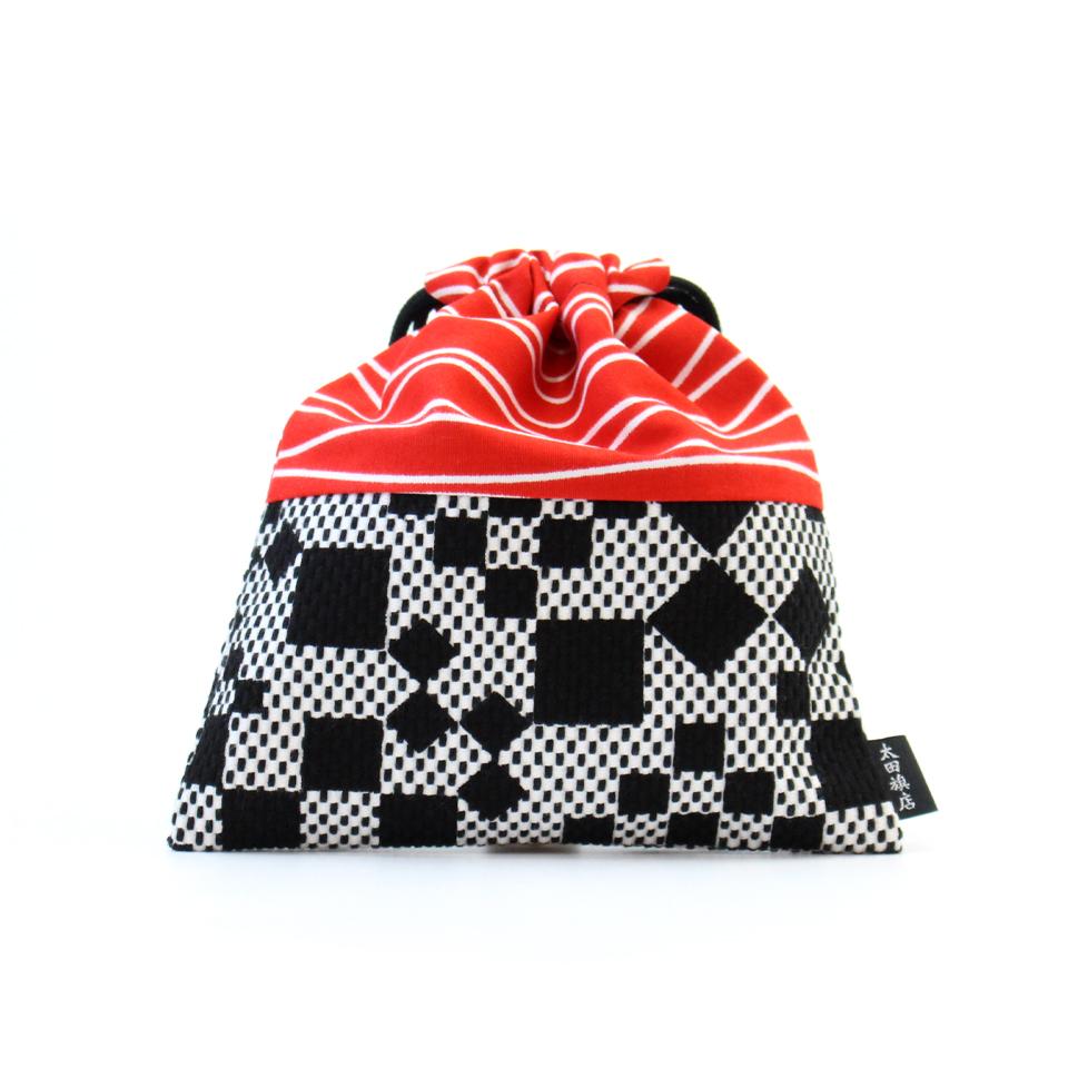 巾着袋 / 市松(黒)刺子織×綿