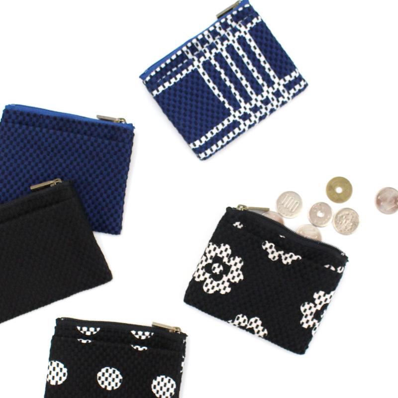 刺子織ジップ小銭入れ 水玉/黒