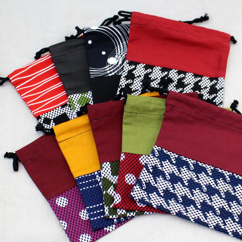 巾着袋 / 市松(緑)刺子織×綿