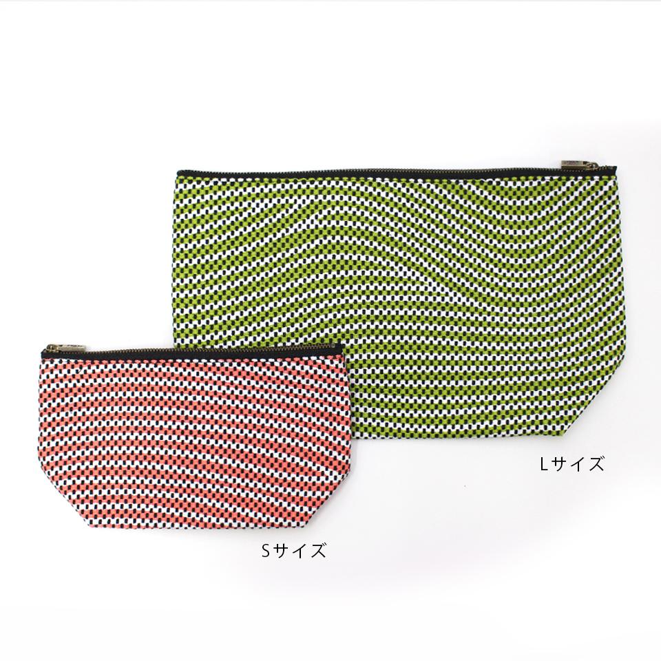 【新作】 刺子織シンプルポーチL(マチあり)  フランス縞 / 薄ピンク