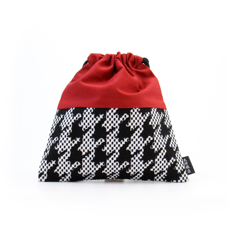 巾着袋 / 千鳥格子(黒)刺子織×綿