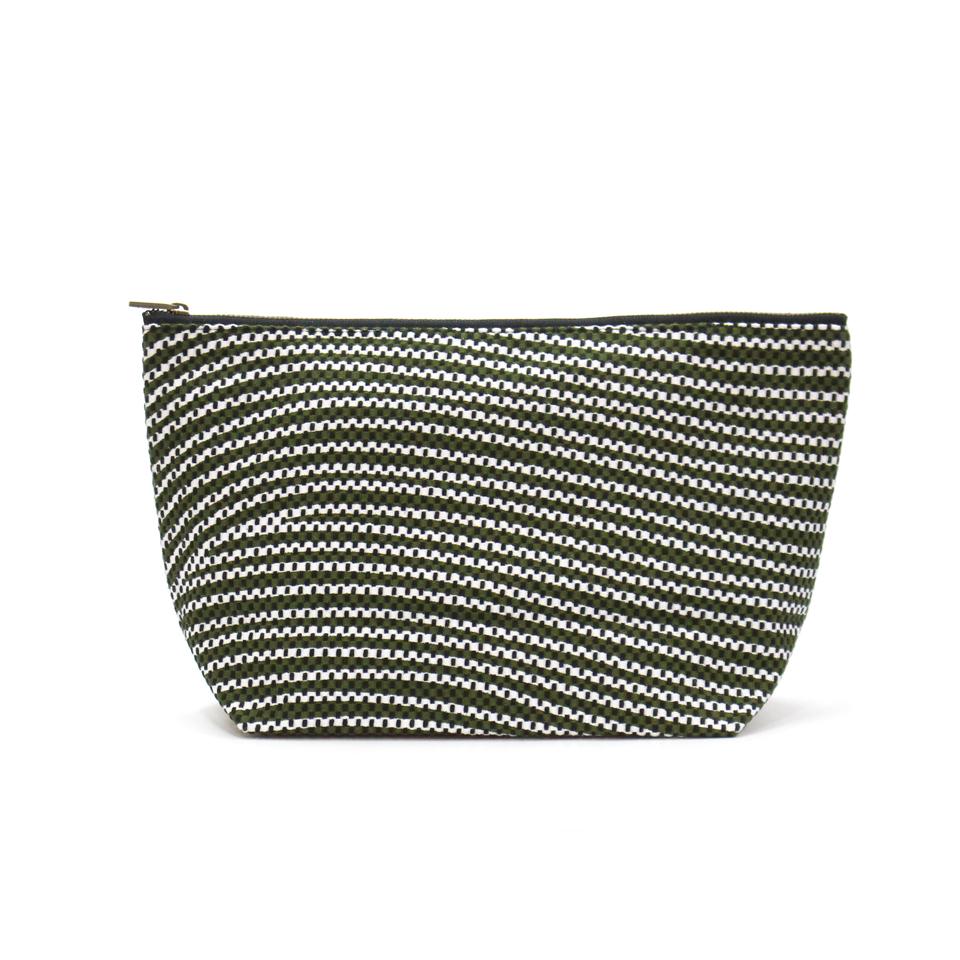 【新作】 刺子織シンプルポーチL(マチあり)  フランス縞 / 深緑