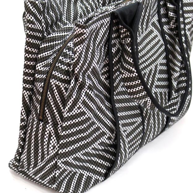 刺子織三口トートバッグ L 重ね松/黒