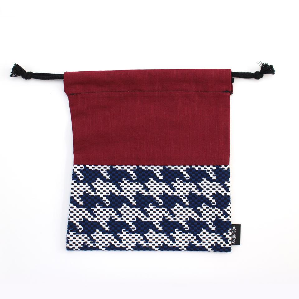 巾着袋 / 千鳥格子(紺)刺子織×綿