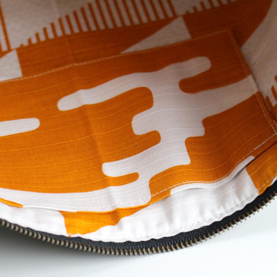 刺子織シンプルポーチL(マチなし) 水玉/カーキ