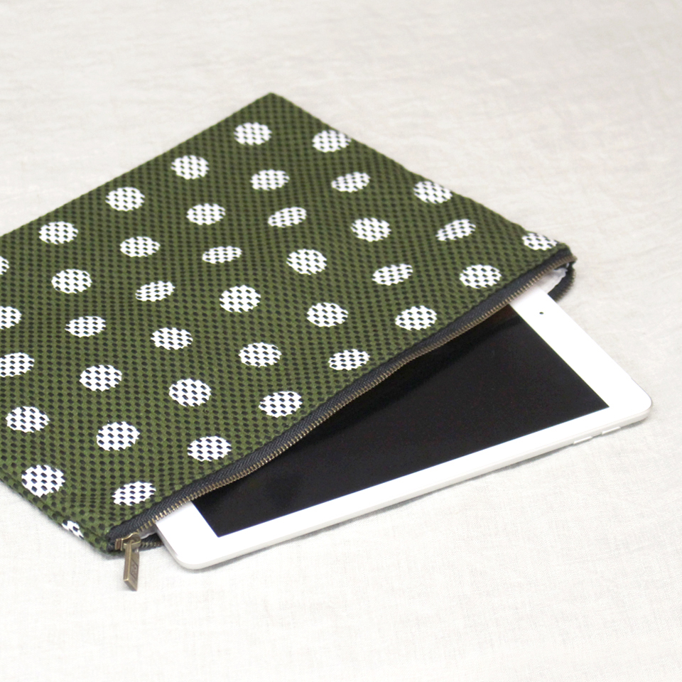刺子織シンプルポーチL(マチなし) 市松ミックス/カーキ