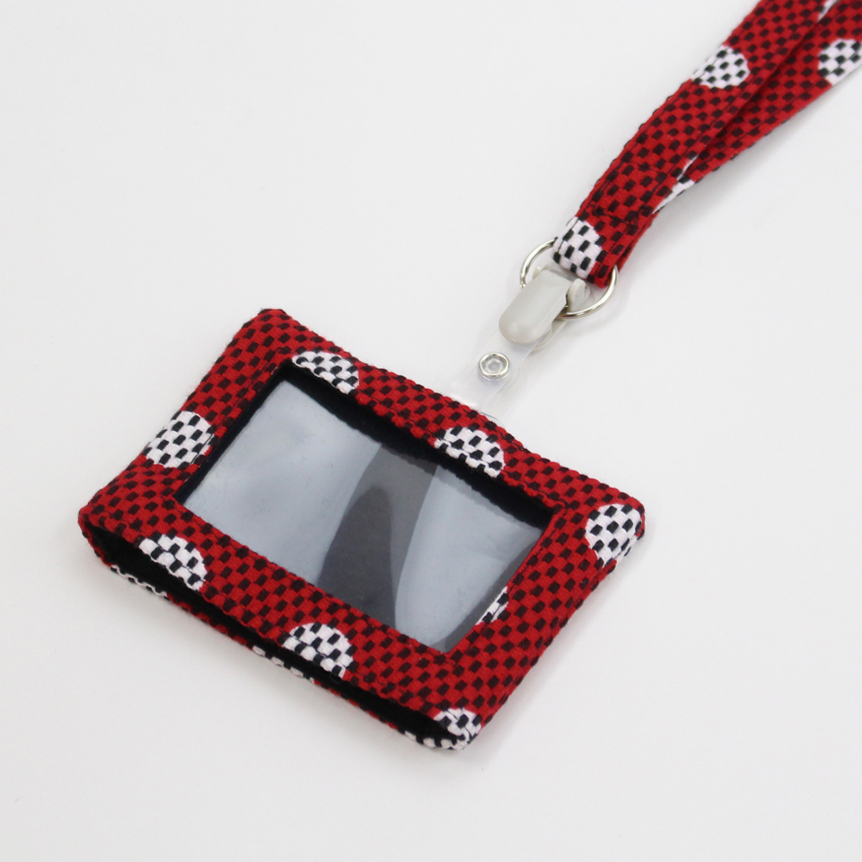 刺子織パスケース(ネックストラップ付) 水玉/赤
