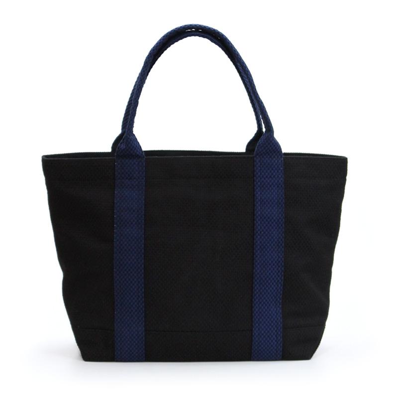 刺子織スタンダードトートバッグ 無地/黒×紺