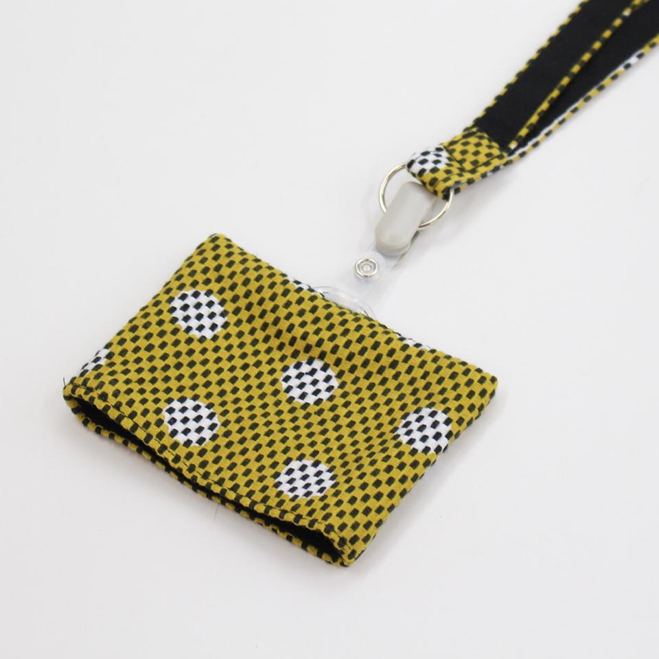 刺子織パスケース(ネックストラップ付) 水玉/マスタード