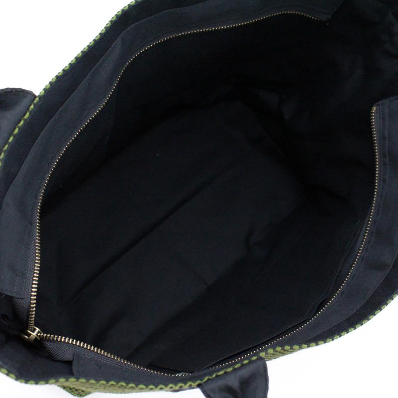 刺子織スタンダードトートバッグ 無地/カーキ×黒