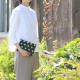 【新作】 刺子織シンプルポーチS(マチなし)  フランス縞 / 深緑