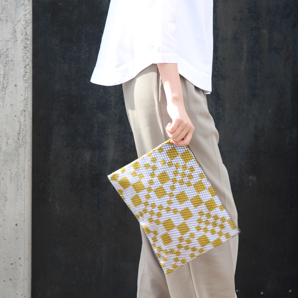【新作】 刺子織シンプルポーチL(マチなし)  フランス縞 / 薄青