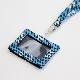 刺子織パスケース(ネックストラップ付) クローバー/水色