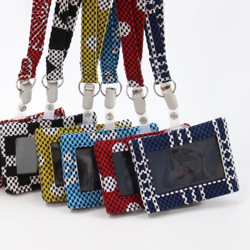 刺子織パスケース(ネックストラップ付) かさね松/赤