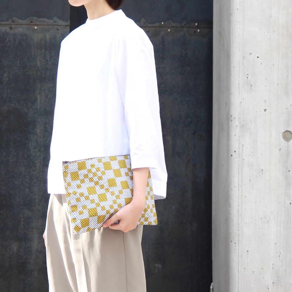 【新作】 刺子織シンプルポーチL(マチなし)  フランス縞 / 深緑