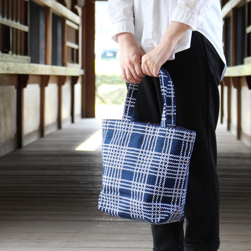 刺子織トートバッグ M なごみ(七五三) 【グレー】