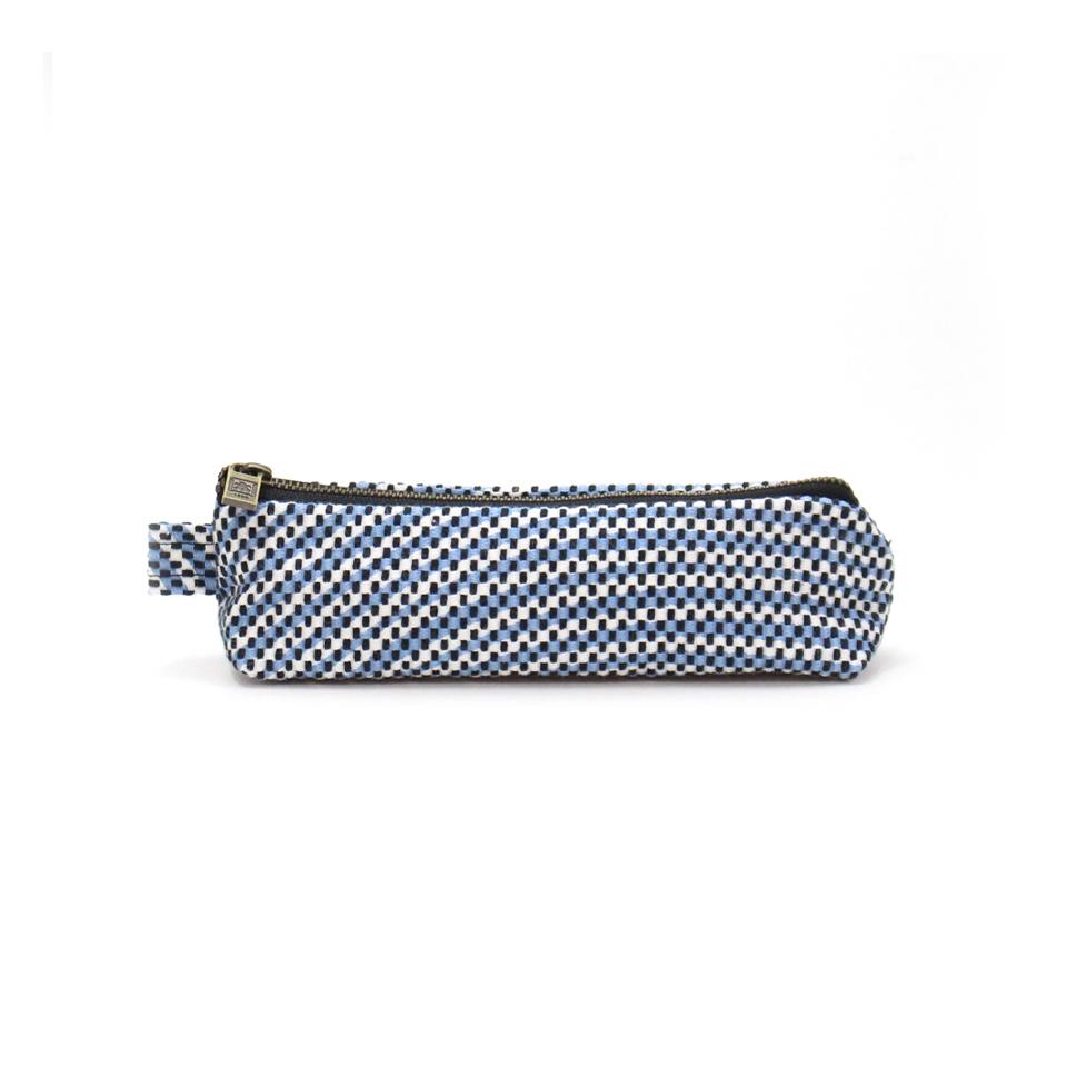【新作】 刺子織ペンケース  フランス縞 / 薄青