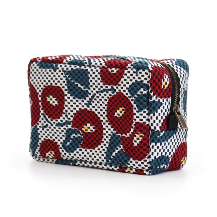 刺子織横型BOXポーチ 椿