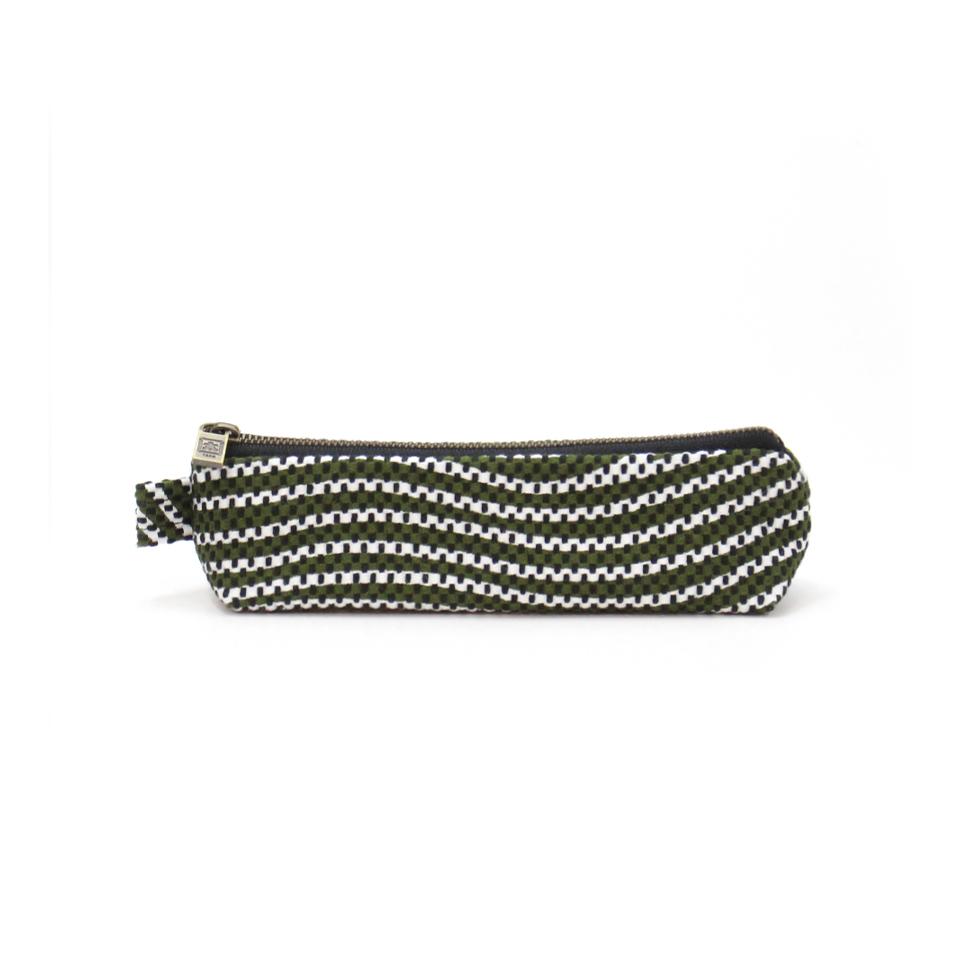 【新作】 刺子織ペンケース  フランス縞 / 深緑