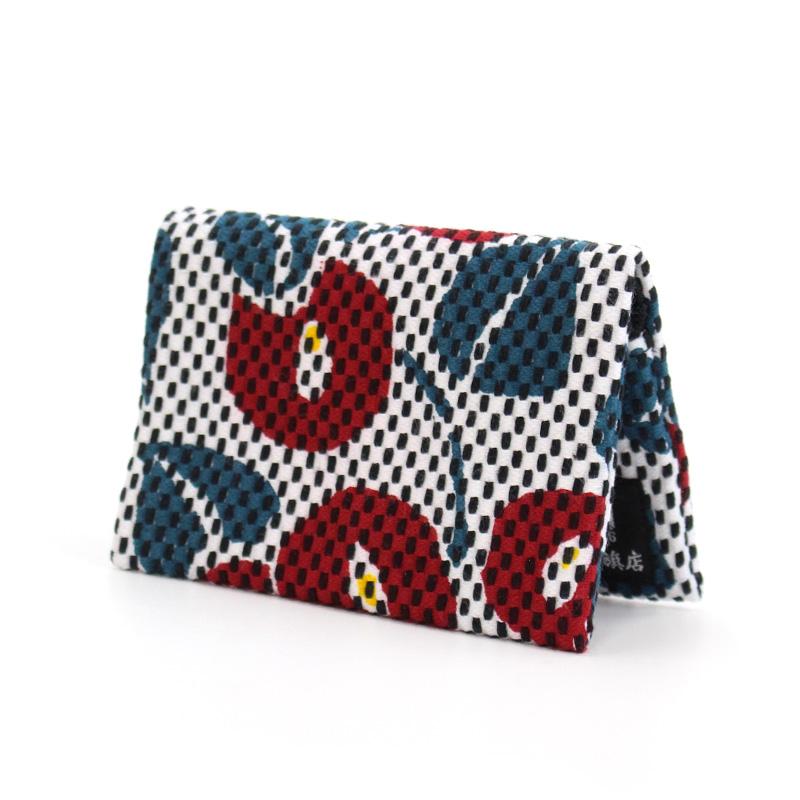 刺子織小銭&カード入れ 椿