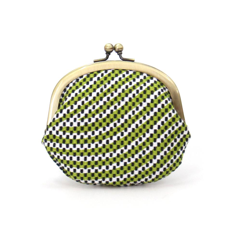 【新作】刺子織がま口小銭入れ(大) フランス縞/薄緑