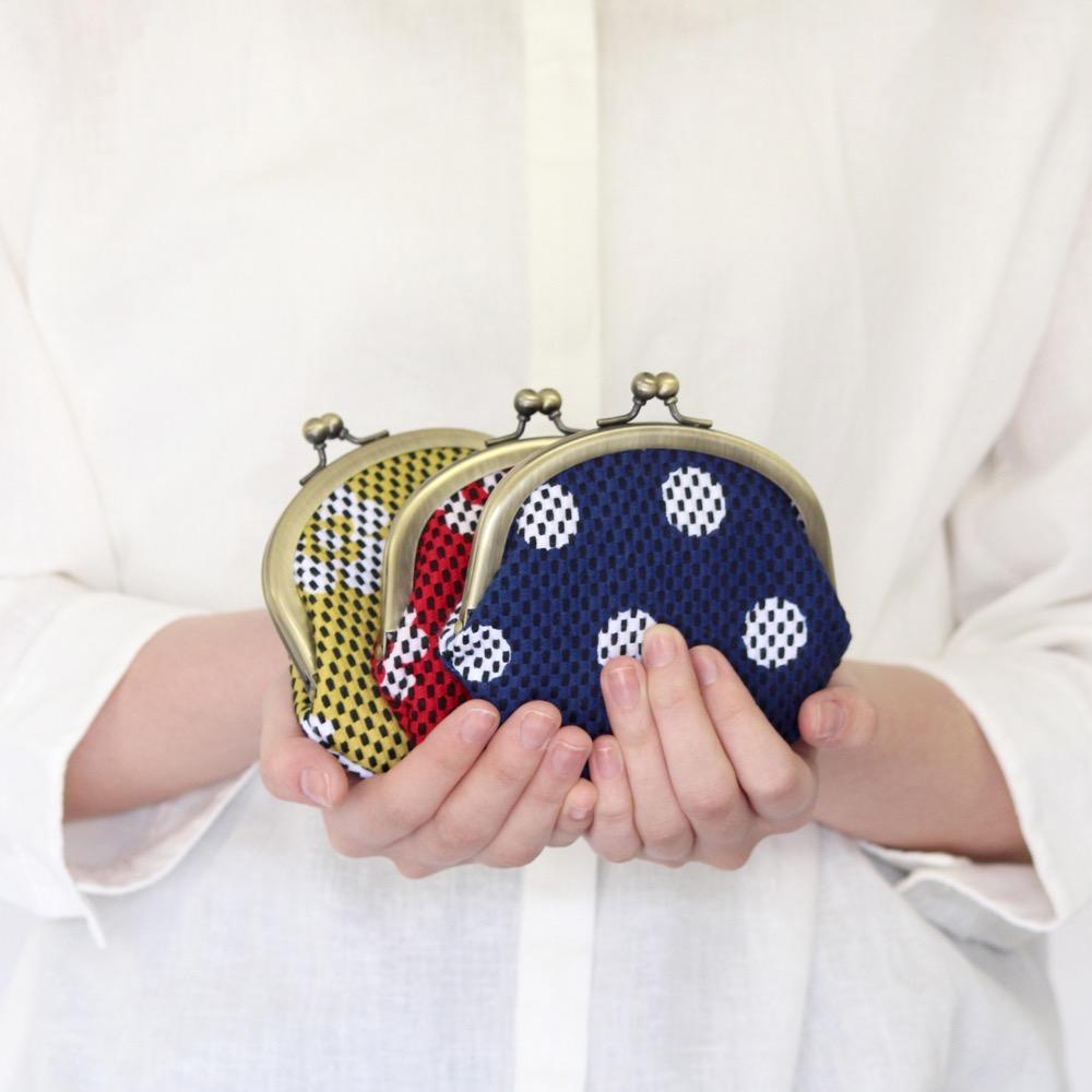 【新作】刺子織がま口小銭入れ(大) フランス縞/薄青