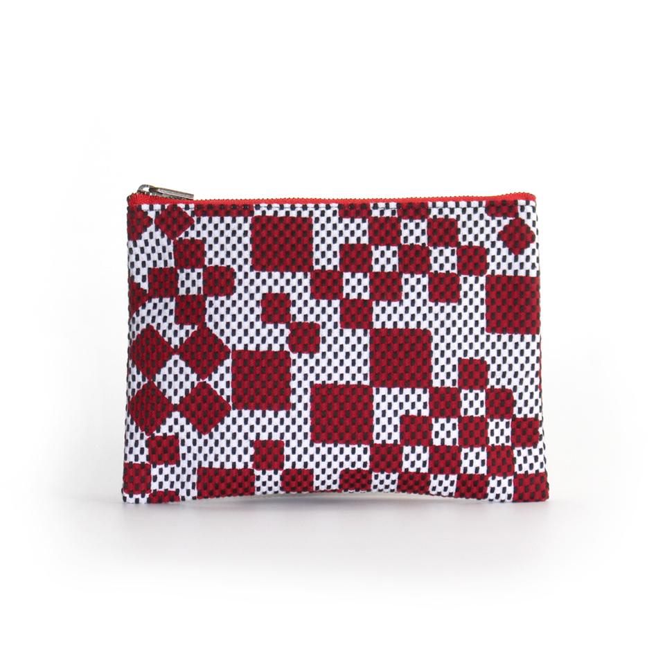 刺子織シンプルポーチS(マチなし) 市松ミックス/赤
