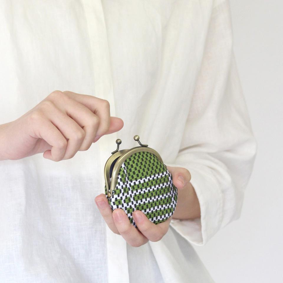 【新作】刺子織がま口小銭入れ(小) フランス縞/薄緑