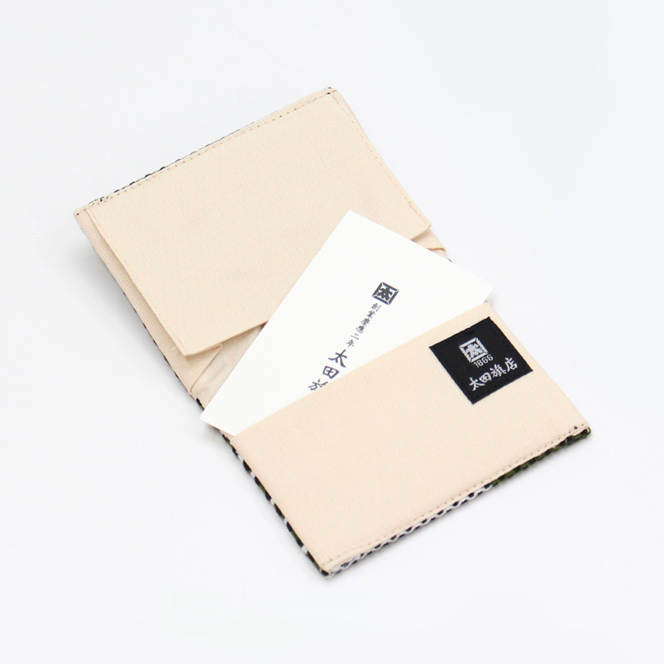 【新作】刺子織名刺入れ フランス縞/薄青