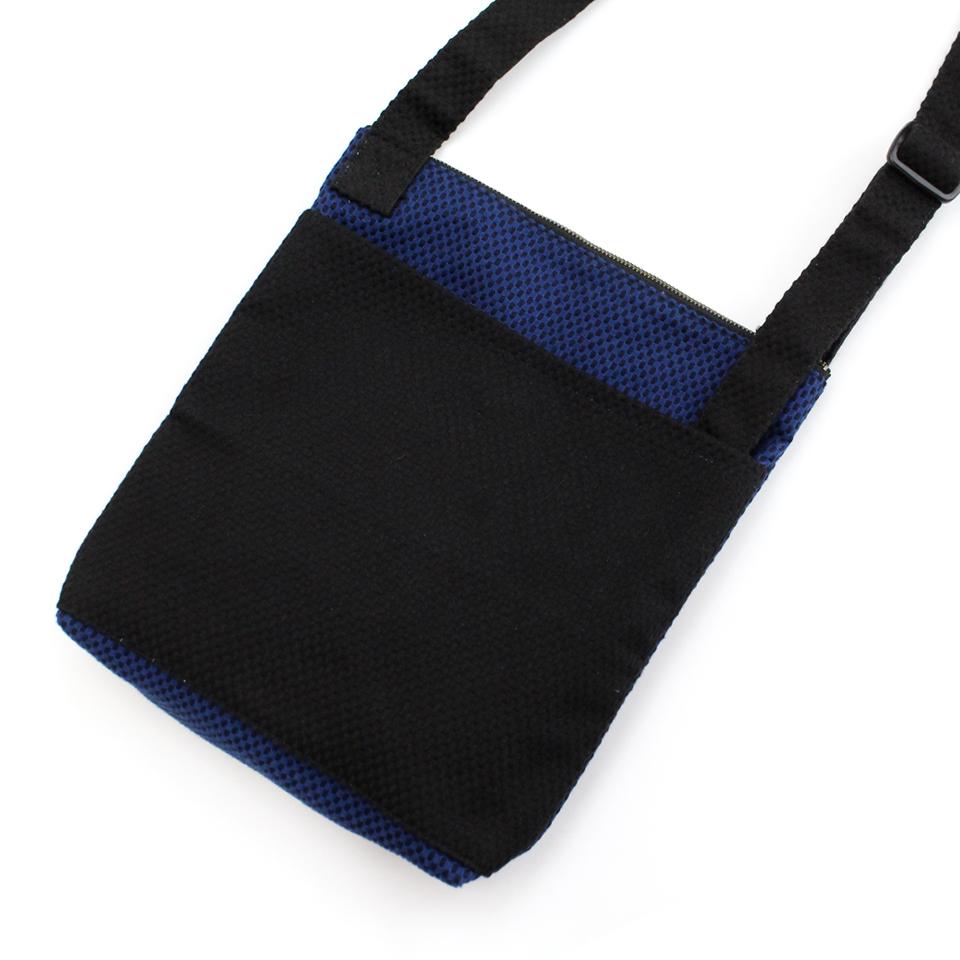刺子織おさんぽバッグ(マチあり) 無地/紺×黒