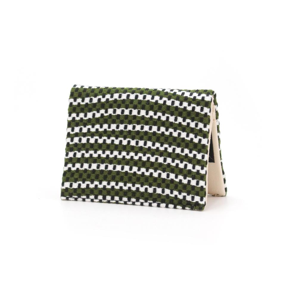 【新作】刺子織名刺入れ フランス縞/深緑