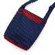 刺子織おさんぽバッグ(マチ有) 無地/赤×紺