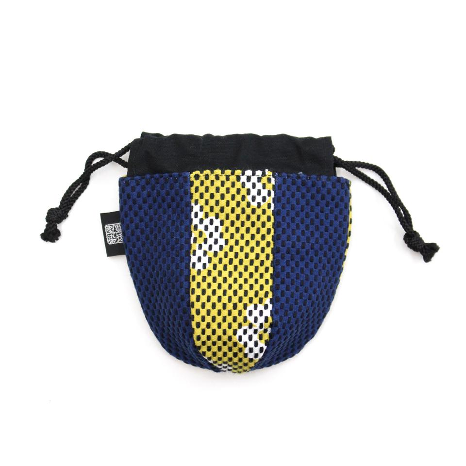 巾着袋(紙ふうせん)  クローバー(マスタード)×紺