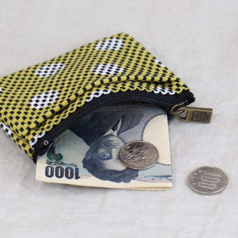 刺子織ジップ小銭入れ 市松/からし