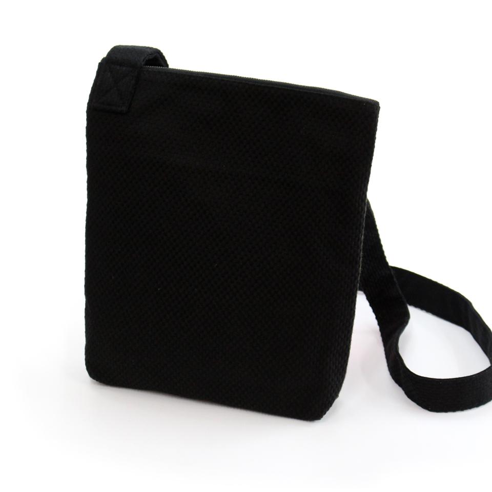 刺子織おさんぽバッグ 水玉/ 黒×マスタード