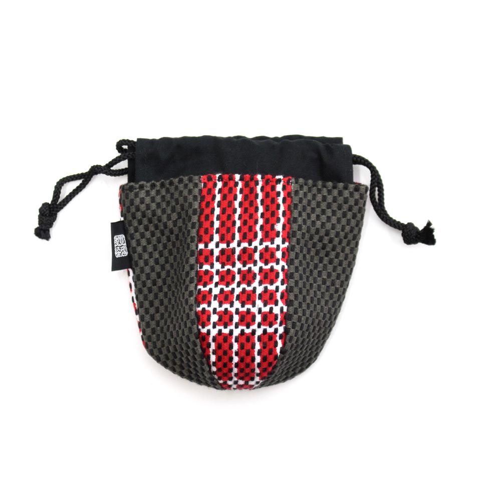 巾着袋(紙ふうせん)  なごみ(赤)×グレー