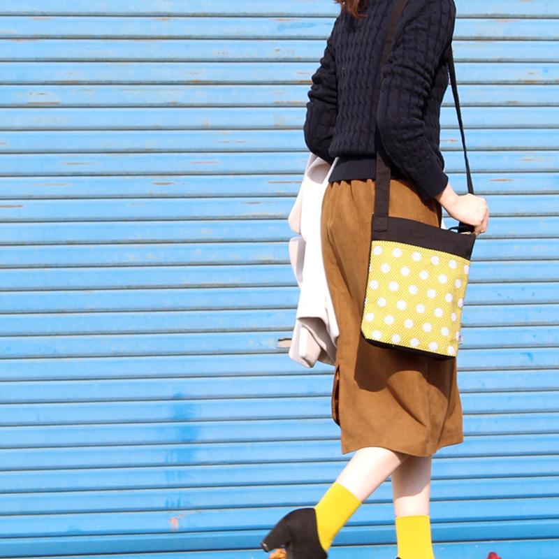 刺子織おさんぽバッグ 水玉/ 黒×紺