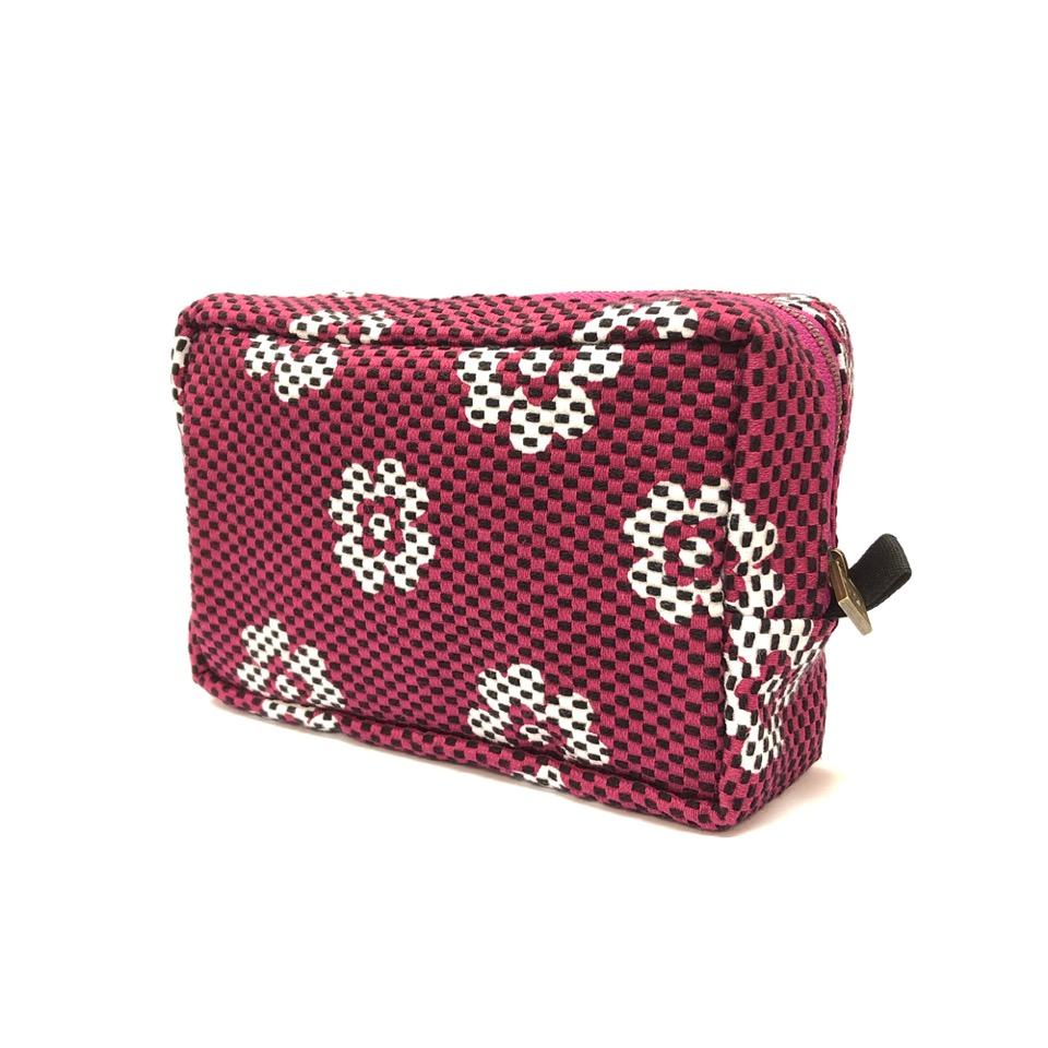 刺子織横型BOXポーチ クローバー/紫