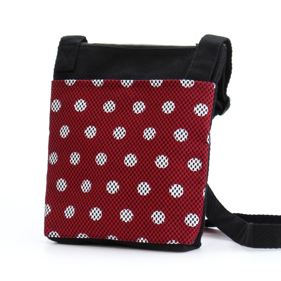 刺子織おさんぽバッグ 水玉/ 黒×赤