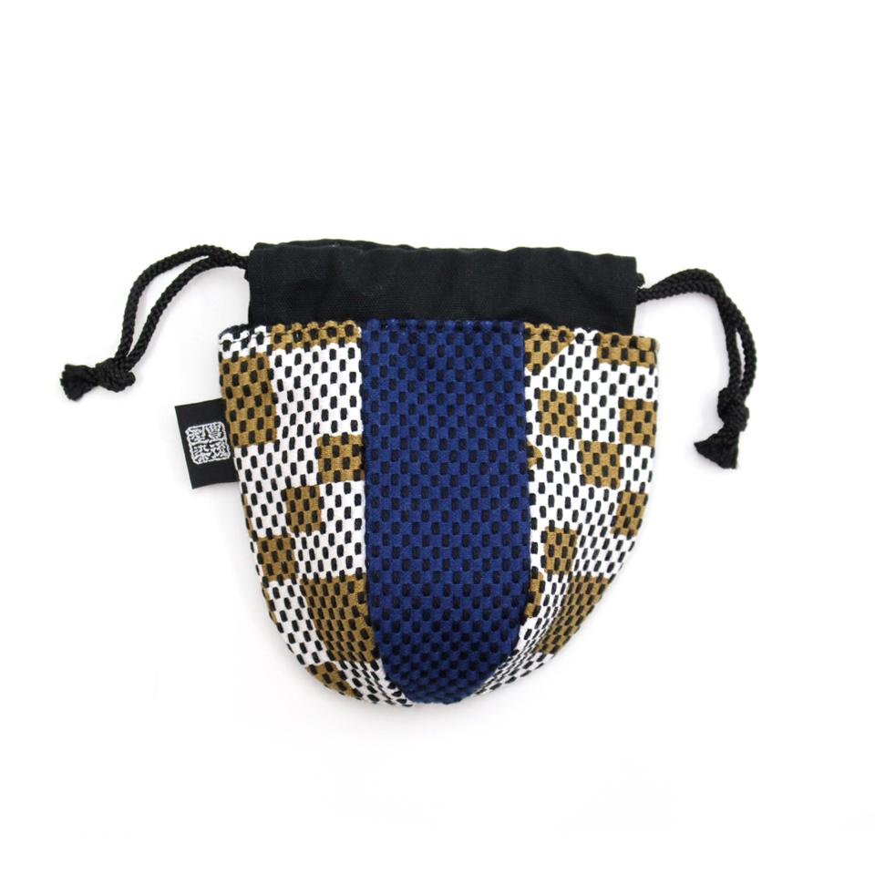 巾着袋(紙ふうせん)  市松(茶)×紺