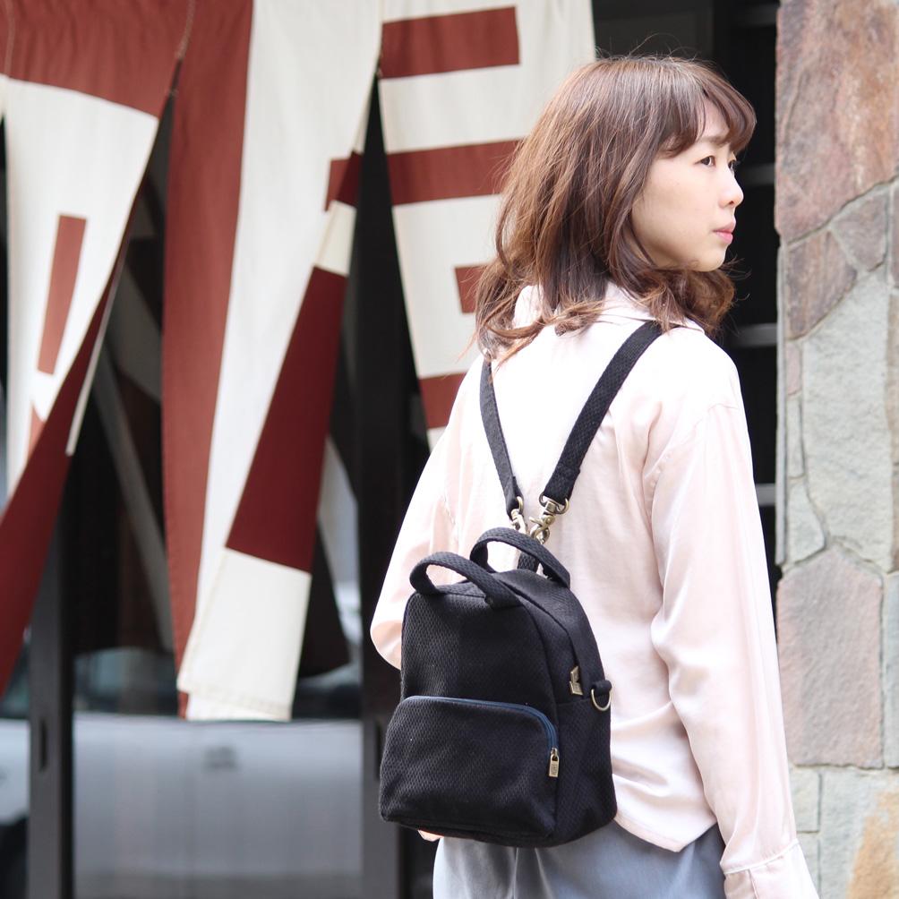 刺子織3Wayバッグ 無地/黒