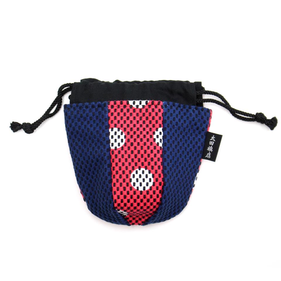 巾着袋(紙ふうせん)  水玉(ピンク)×紺